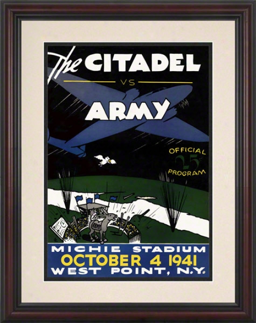 1941 Army Vs. Citadel 8.5 X 11 Framed Historic Football Print