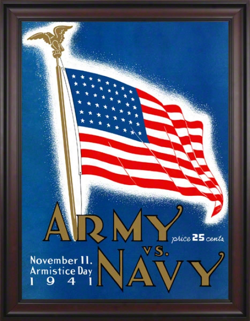 1941 Army Vs. Navy 36 X 48 Framed Canvas Historic Football Printt