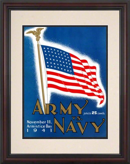 1941 Host Vs. Navy 8.5 X 11 Framed Historic Football Print