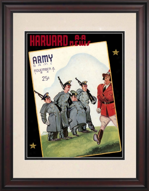 1941 Harvard Crimson Vs. Army Black Knights 10.5x14 Framed Historic Football Print
