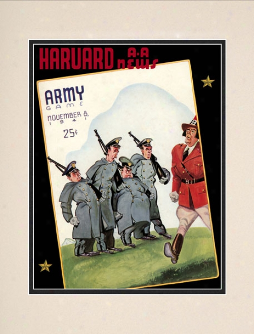 1941 Harvard Crimson Vs. Army Black Knights 10.5x14 Matted Historic Football Print