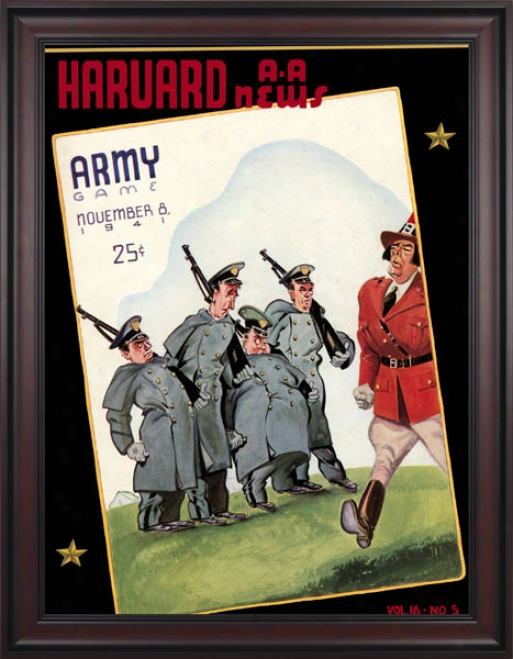 1941 Harvard Crimson Vs. Army Black Knights 36 X 48 Framed Canvas Historic Football Print