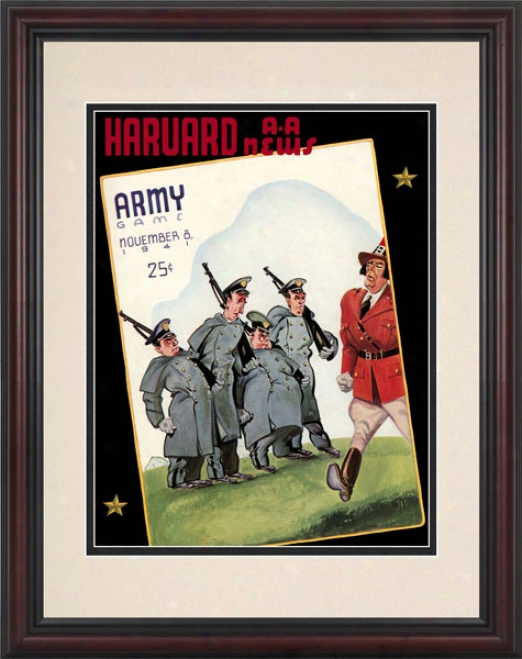 1941 Harvard Crimson Vs. Army Black Knights 8.5 X 11 Framed Historic Football Print