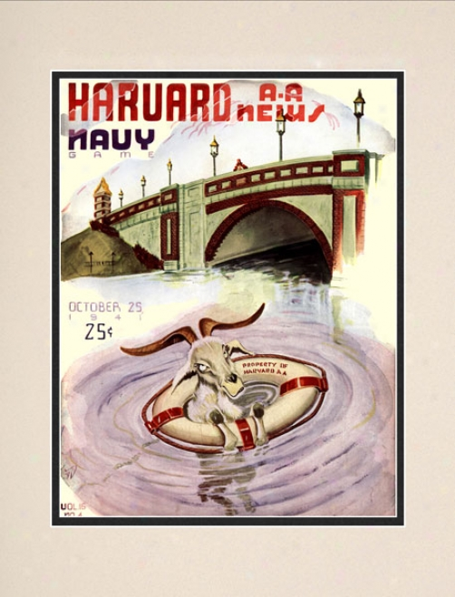 1941 Harvard Crimson Vs. Ships of war Midshipmen 10.5x14 Matted Historic Football Print