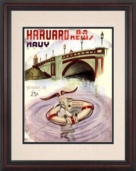 1941 Harvard Crimson Vs. Navy Midshipmen 8.5 X 11 Framed Historic Football Newspaper