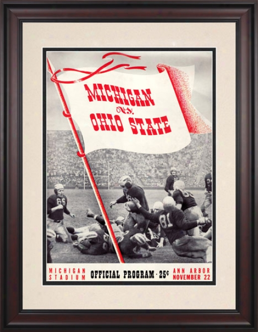 1941 Michigan Wolverines Vs. Ohio Rank Bucketes 10.5x14 Framed Historic Football Print