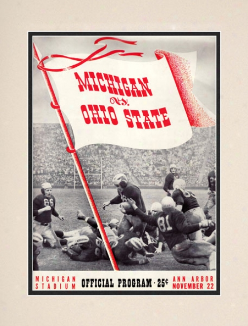 1941 Michigan Wolverines Vs. Ohio State uBckeyes 10.5x14 Matted Historic Football Print