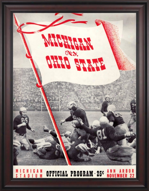 1941 iMchigan Wolverines Vs. Ohio State Buckeyes 36 X 48 Framed Canvas Historic Football Pribt