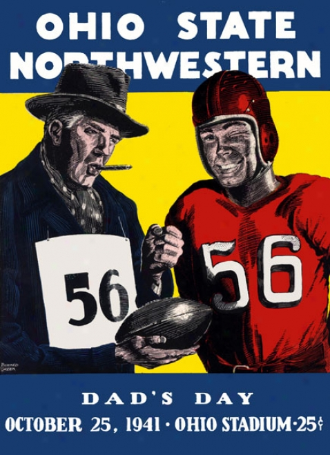 1941 Ohio State Buckeyes Vs. Northwestern Wildcats 36 X 48 Canvas Historic Football Print