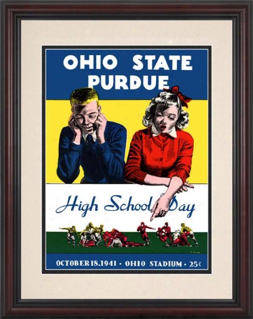 1941 Ohio State Buckeyes Vs. Purdue Boilermakers 8.5 X 11 Framed Historic Football Print