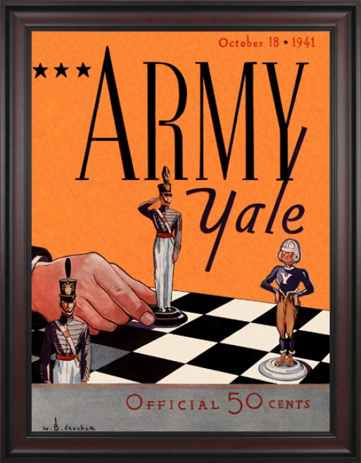 1941 Yale Bulldogs Vs. Army Black Knights 36 X 48 Framed Canvas Histkric Football Print