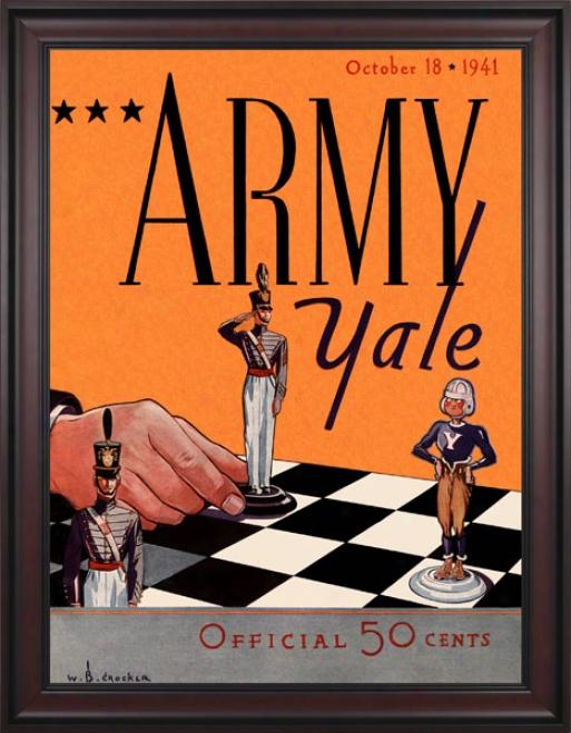 1941 Yale Bulldogs Vs. Army Black Knights 36 X 48 Framed Canvas Histkric Football Print