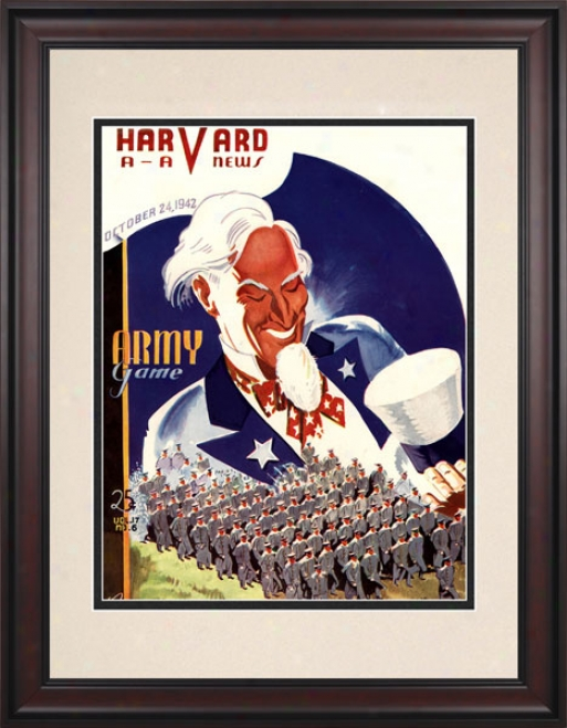 1942 Harvard Crimson Vs. Army Black Knightq 10.5x14 Framed Historic Football Mark