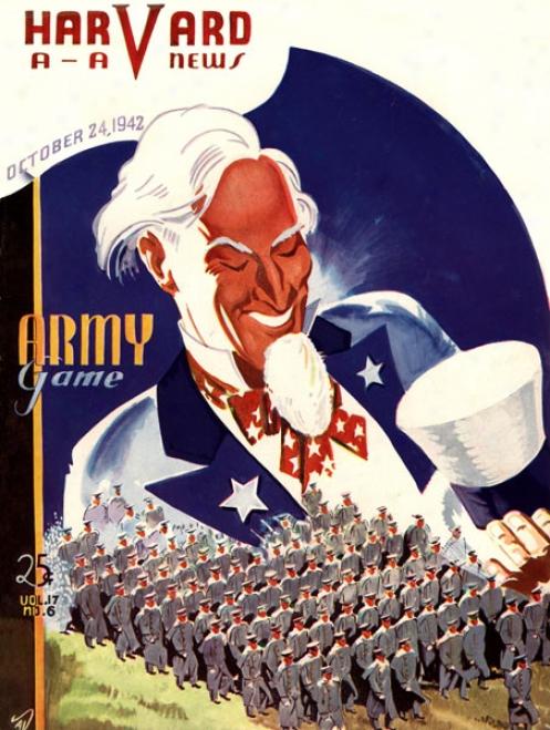 1942 Harvard Crimson Vs. Army Black Knights 36 X 48 Canvas Historic Football Print