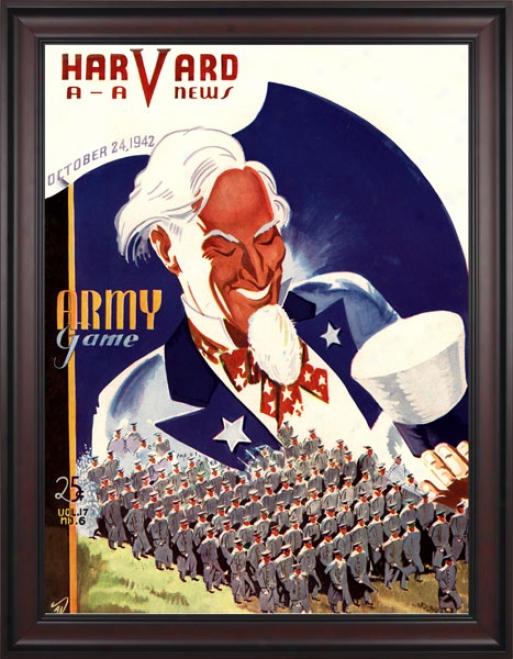 1942 Hargard Crimson Vs. Army Black Knights 36 X 48 Framed Canvas Historic Football Print