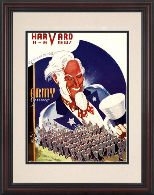 1942 Harvaard Crimson Vs. Army Black Knights 8.5 X 11 Framed Historic Football Print