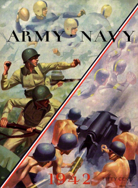 1942 Navy Vs. Host 36 X 48 Canvas Hitsoric Football Print