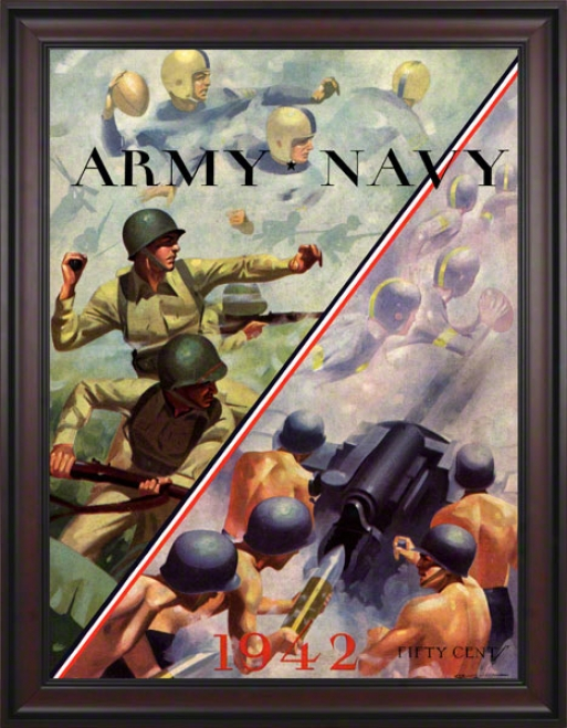 1942 Navy Vs. Army 36 X 48 Framed Canvas Hisyoric Football Print
