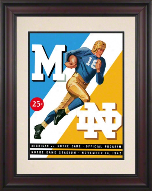 1942 Notre Dame Fighting Irish Vs Michigan Wolverines 10 1/2 X 14 Framed Historic Football Poster