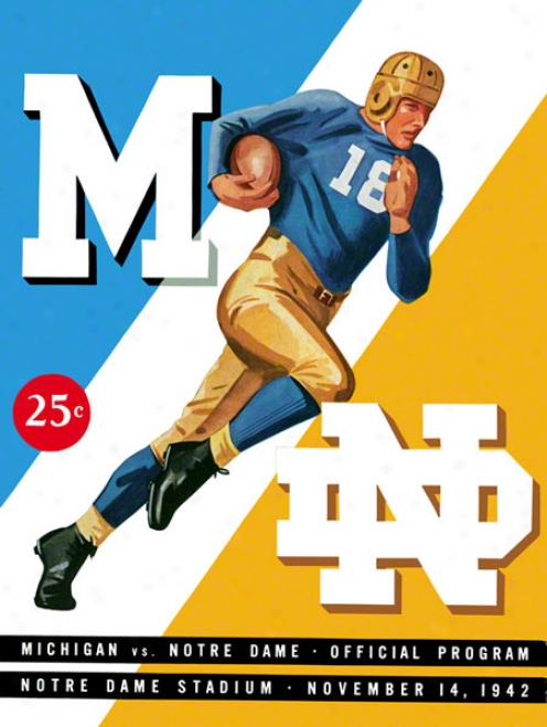 1942 Notre Dame Foghting Irish Vs Michigan Wolverines 22 X 30 Canvas Historic Football Poster