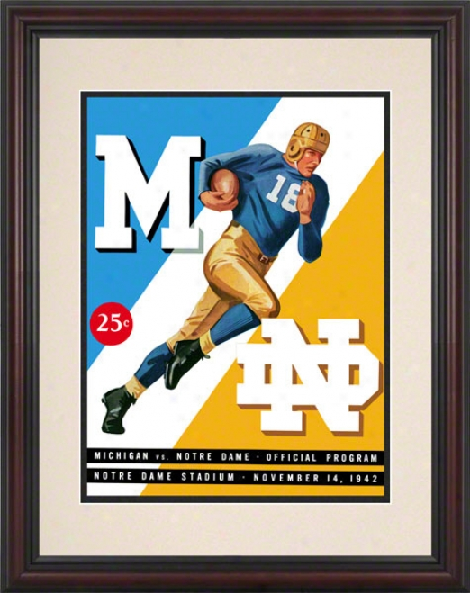 1942 Notre Dame Fighting Irish Vs Michigan Wolverines 8.5 X 11 Framed Historic Football Poster