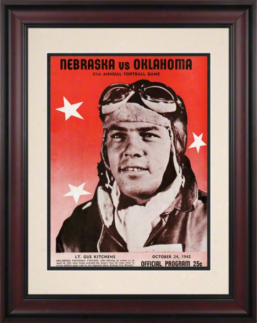 1942 Oklahoma Vs Nebraska 10.5x14 Framed Historic Football Print