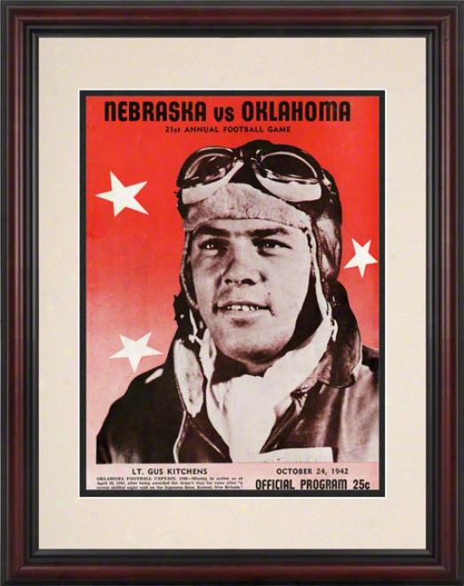 1942 Oklahoma Vs Nebraska 8.5 X 11 Framed Historic Football Print