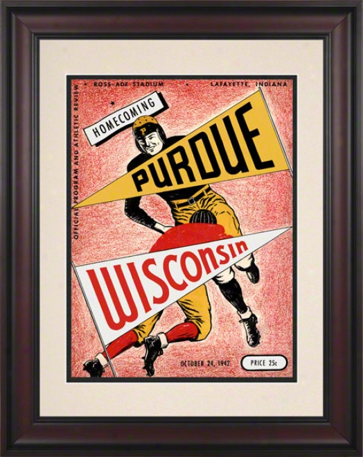 1942 Purdue Vs. Wisconsin 10.5x14 Framed Historic Football Print