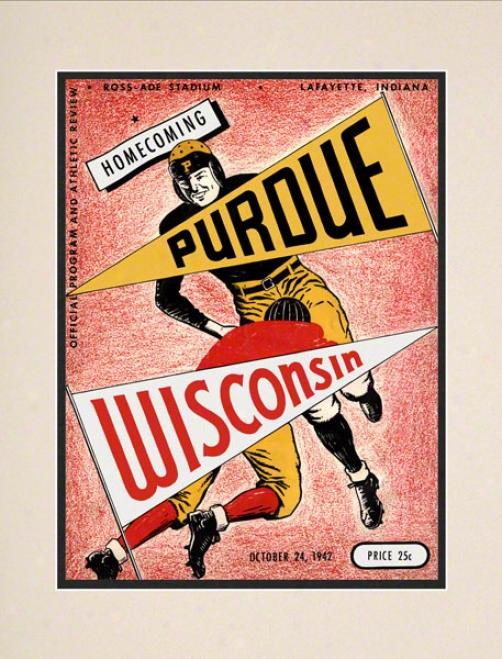 1942 Purdue Vs. Wisconsin 10.5x14 Matted Historic Football Print