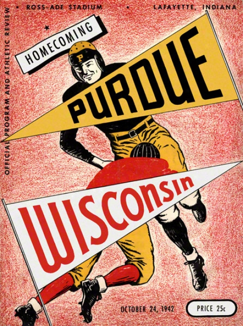 1942 Purdue Vs. Wisconsin 36 X 48 Canvas Historic Football Print