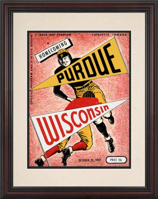 1942 Purdue Vs. Wisconsin 8.5 X 11 Framed Historic Football Print