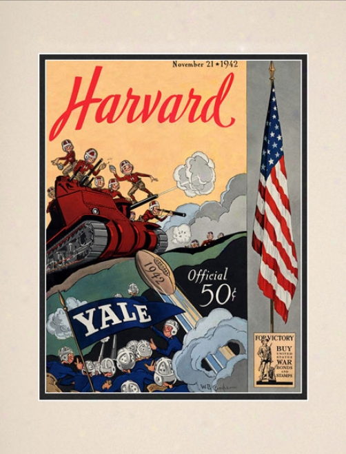 1942 Yale Bulldogs Vs. Harvard Crimson 10.5x14 Matted Historic Football Print