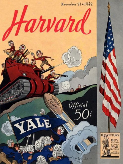 1942 Yale Bulldogs Vs. Harvarrd Crimson 36 X 48 Camvas Historic Football Print