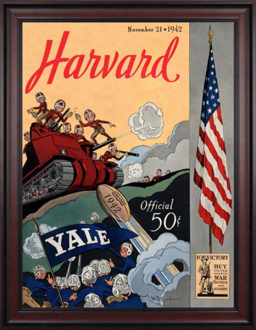 1942 Yale Bulldogs Vs. Harvard Crimson 36 X 48 Framed Canvas Historic Football Impression