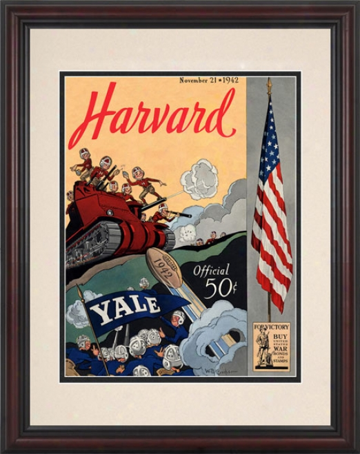 1942 Yale Bulldogs Vs. Harvard Crimson 8.5 X 11 Framed Historic Football Print