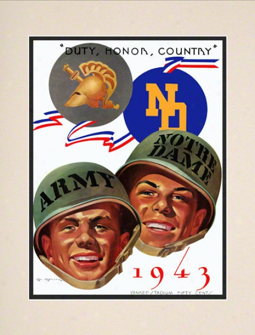 1943 Army Mourning Knights Vs Notre Dame Fighting Iriqh 10 1/2 X 14 Matted Historic Football Poster