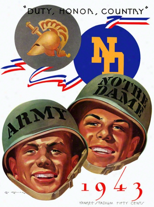 1943 Army Black Knight Vs Notre Dame Fighting Irish 22 X 30 Canvas Historic Football Poster