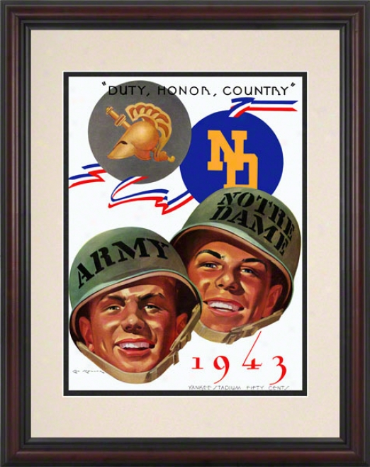 1943 Army Black Knights Vs Notre Dame Fighting Irish 8.5 X 11 Framed Historic Football Poster