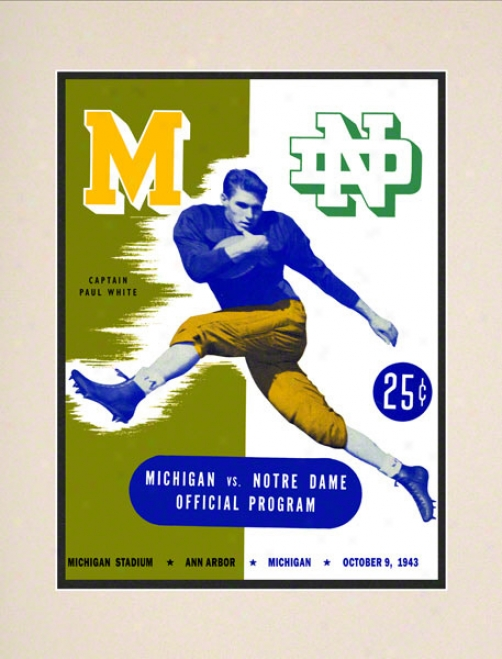 1943 Michigan Wolverines Vs Notre Dame Fighting Irish 10 1/2 X 14 Matted Historic Football Poster