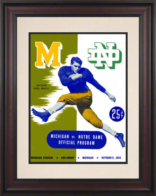 1943 Michigan Wolverines Vs Notre Dame Fighting Irish 10 1/3 X 14 Framed Historic Football Placard