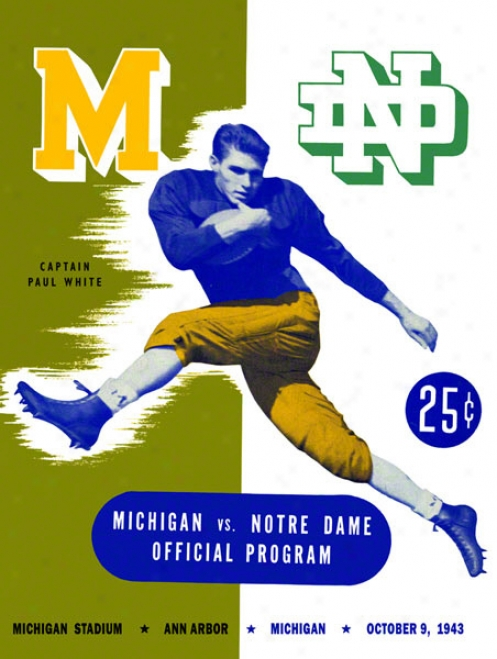 1943 Michigan Wolverines Vs Notre Dame Fighting Irish 36 X 48 Canvas Hiztoric Football Poster