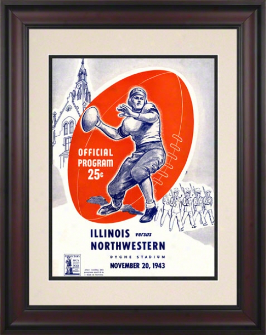 1943 Northqestern Vs. Illinois 10.5x14 Framed Historic Football Print