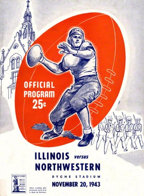 1943 Northwestern Vs. Illinois 22 X 30 Canvas Historic Football Print
