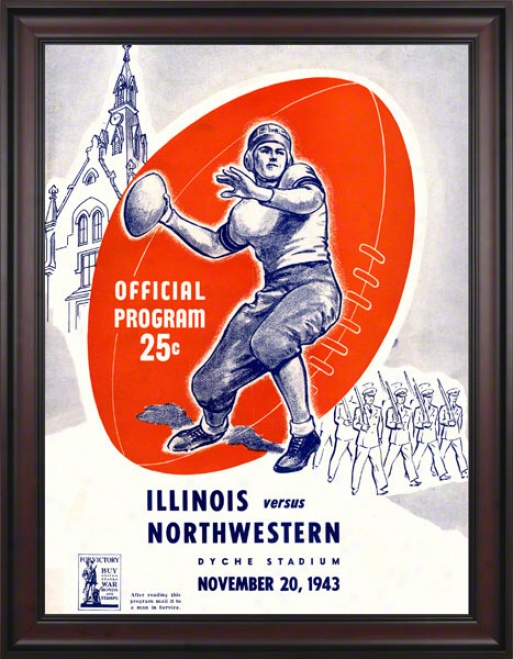 1943 Northwestern Vs. Illinois 36 X 48 Framed Canvas Historic Football Print