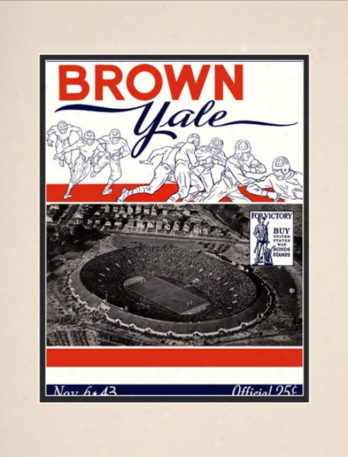 1943 Yale Bulldogs Vs. Brown Bears 10.5x14 Matted Historic Football Print
