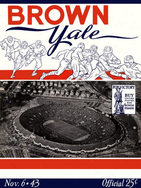 1943 Yale Bulldogs Vs. Brown Bears 22 X 30 Canvas Hiqtoric Football Print