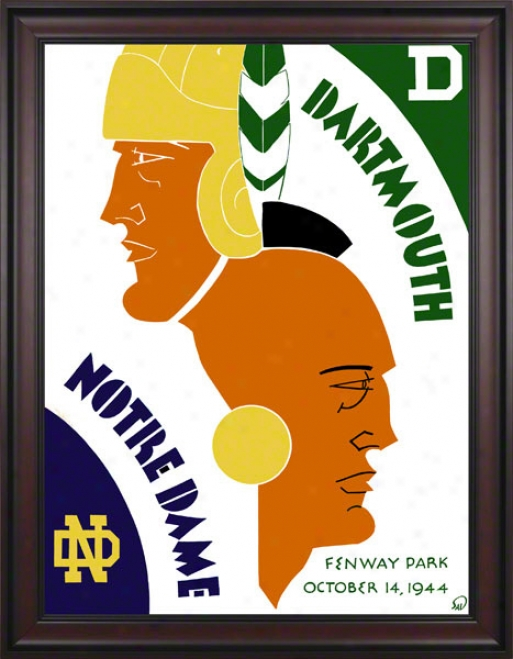 1944 Dartmouth Big Green Vs Notre Dame Fighting Irish 36 X 48 Framed Canvas Historic Football Poster