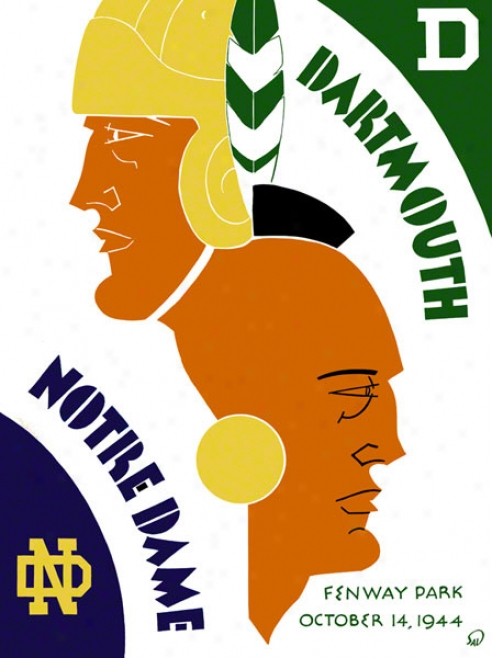 1944 Dartmouth Big Green Vs Notre Dame Fighting Irish 36 X 48 Canvas Historic Football Poster