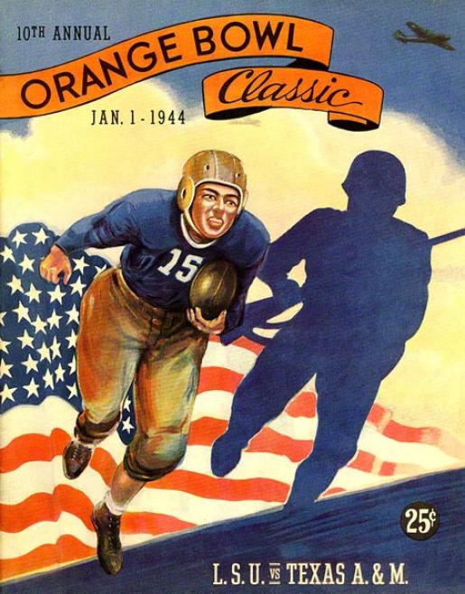 1944 Lsu Vs. Texas A&m 36 X 48 Canbas Historic Football Print
