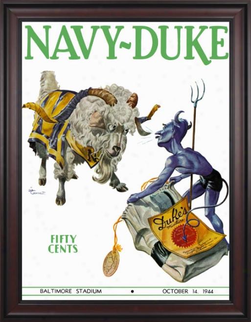 1944 Navy Midshipmen Vs. Duke Azure Devils 36 X 48 Framed Canvas Historic Football Print